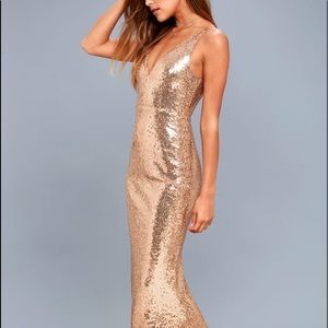 Lulus Here to wow gold sequin dress